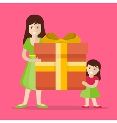 Mother and Daughter with Gift Flat Design vector image vector image