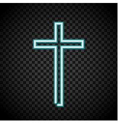 neon cross glowing cross religion christianity vector image vector image