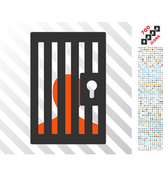 Prison door flat icon with bonus vector