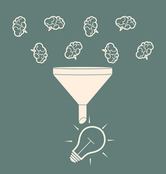 Sales funnel converting brains into bulb idea vector