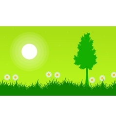 Silhouette of tree with flower at spring landscape vector