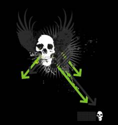 skull grunge arrows vector image