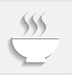 Soup sign white icon with soft shadow on vector