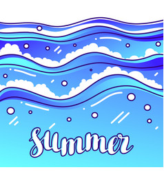 Summer at seaside stylized of waves vector