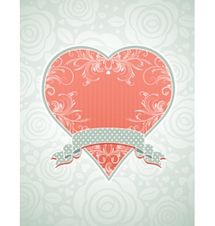 Valentine lovely pink heart with grey ribbon vector