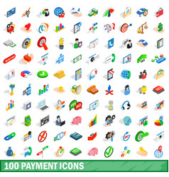 100 payment icons set isometric 3d style vector image