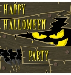Halloween banner black monster with scary face vector