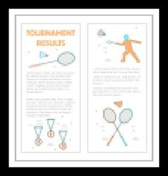 Badminton leaflet tournament results vector