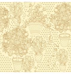 Garden seamless pattern with 3 plants vector