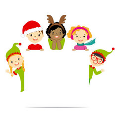 Kids dressed in christmas costumes vector