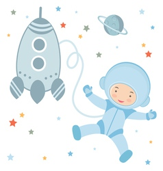 Cosmonaut and rocket vector