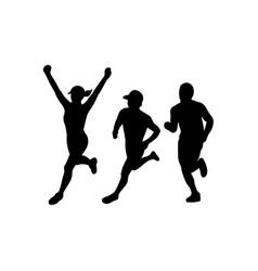 Marathon runners silhouette collection set vector
