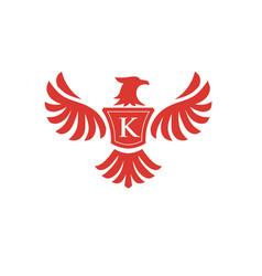 Elegant phoenix with letter k logo vector