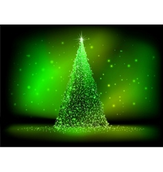 Abstract golden christmas tree on green EPS 10 vector image