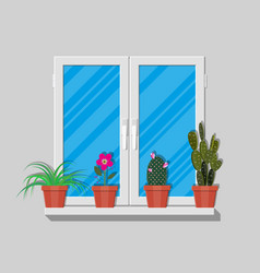 White window with flowers on wall vector