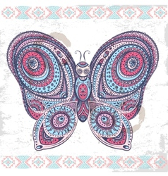 Vintage ethnic butterfly vector image
