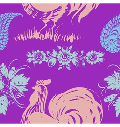Seamless pattern with motive of rooster vector