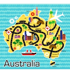 Cartoon map of australia vector