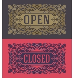 Retro cards and door signs organized by layers vector