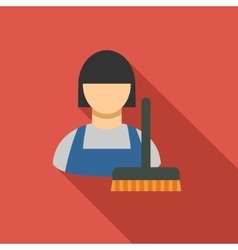 Cleaning staff flat long shadow square icon vector