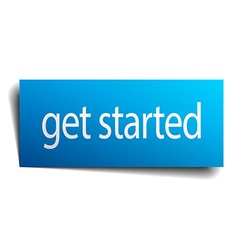 Get started blue paper sign isolated on white vector