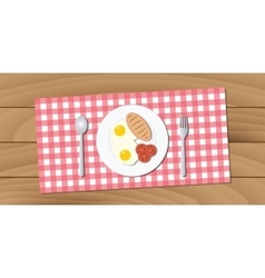 Breakfast menu on wood table vector