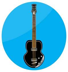 Electronic guitar icon flat vector
