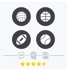 Sport balls volleyball basketball baseball vector