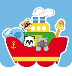 Child ship animals vector