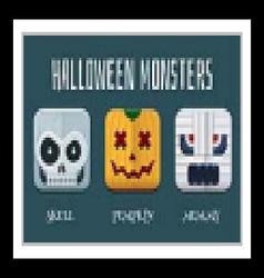 Halloween monster icon set vector