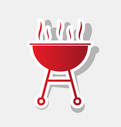 Barbecue simple sign new year reddish vector