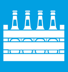 Beer wooden box icon white vector