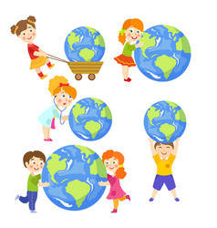 Children saving earth planet concept set vector