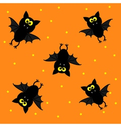 Cute bats on orange background happy halloween vector