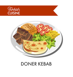 Doner kebab with fresh vegetables tender cheese vector