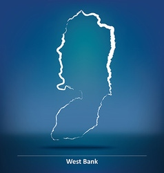 Doodle map of west bank vector