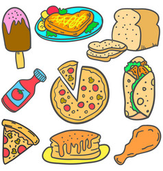 Doodle of food various style design cartoon vector