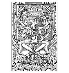 Goddess kali engraved fantasy vector