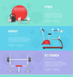 Gym and fitness center flyers sport background vector