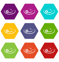 hat with flower icon set color hexahedron vector image vector image