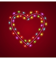 Heart shaped garland lights vector image vector image