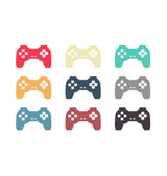 joystick set retro gamepad vintage video game vector image
