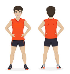 Man playing sport with orange and black sportswear vector