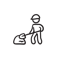 Man with shovel and hill of sand sketch icon vector