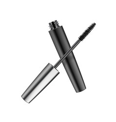 Mascara in dark metallic shiny tube on background vector