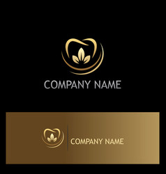 Organic leaf tooth dental gold logo vector