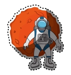 Planet of the solar system with astronaut vector