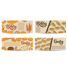set of bakery flyer templates fresh baked goods vector image