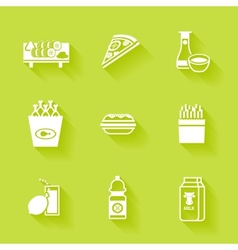 Set of white grocery and food icons vector