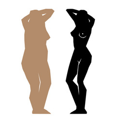 silhouette fat and slim girls vector image
